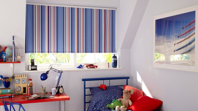 Striped Blackout Roller Blind used to control light in a childrens bedroom - Circus Royal Fabric Blackout Roller Blind