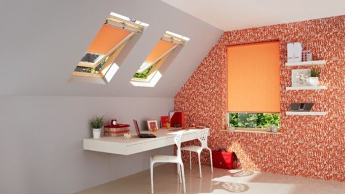 sherborne orange roller blind in study