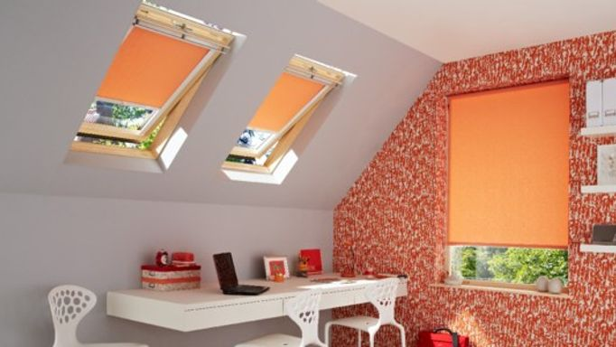 sherbourne orange roller blinds in study