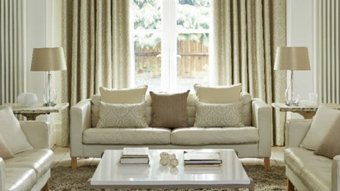 kashmir cream curtains in living room