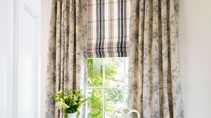 lundy charcoal roman blind and brompton soft grey curtains