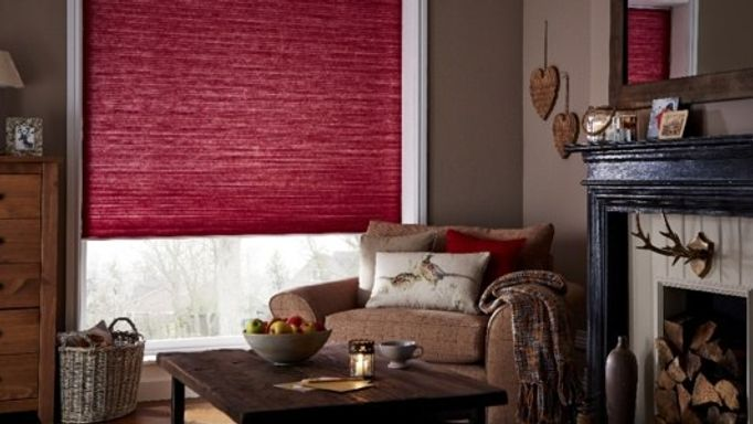 Chilli red thermashade pleated blind
