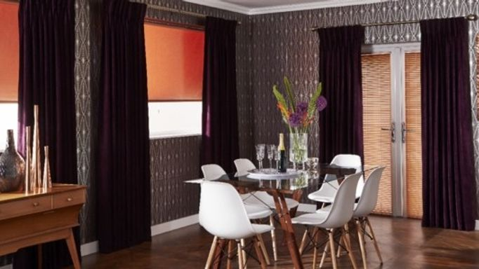 Copper effect venetian blinds Purple Curtains