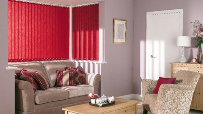 red vertical blinds in living room