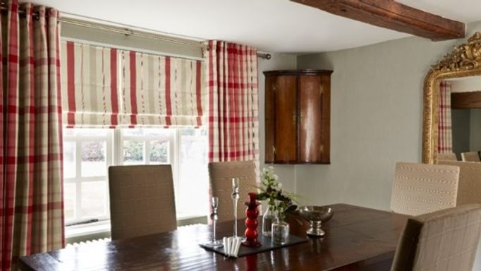 Wollaton Red Curtains and Stewart Red Roman blind