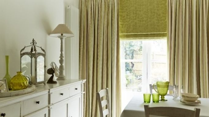 Lundy Pistachio Curtains and Roche Olive Roman blind