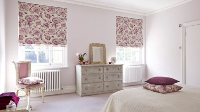 portia quartz roman blinds in bedroom