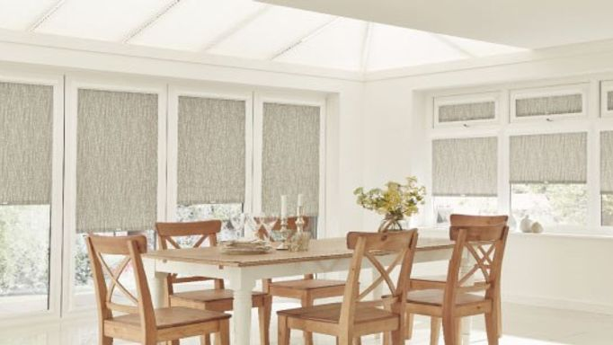 Flockheart Taupe Perfect Fit Roller Blinds in the glass extension