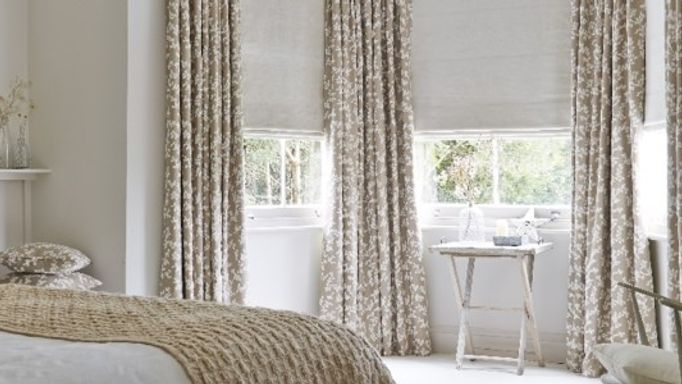 Aurella Tan Curtains and Lyon Oatmeal Roman-blind