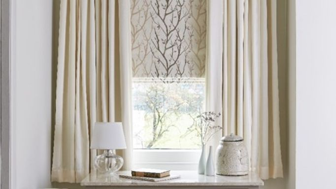 Chester Cotton Curtains and Pyrus Cream Roman blind