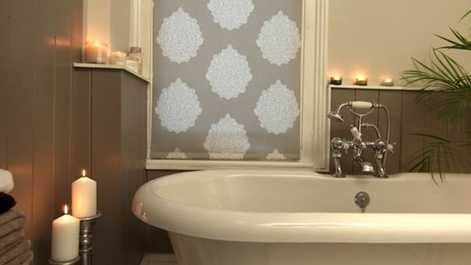 Lomas Taupe Grey Roller Blind In Bathroom