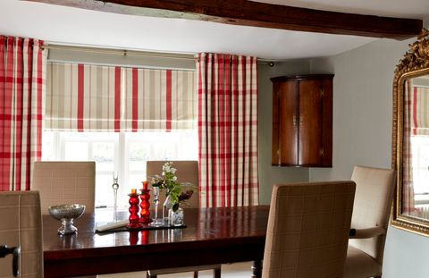 Wollaton Red Curtains with Stewart Red Roman Blind