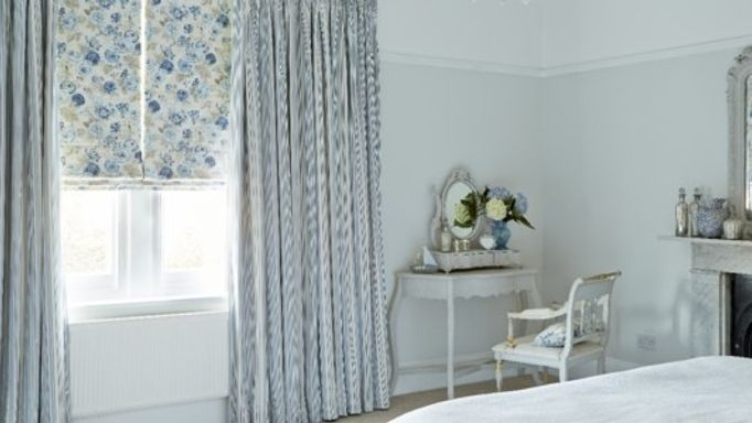 Hatti Chambray Curtains and Francesca Wedgewood Roman blind