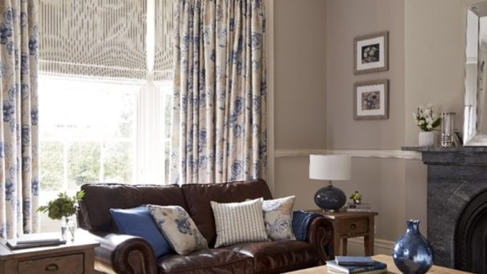 Rosita French Blue Curtains and Downtown Mink Roman blind
