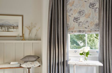 Rosita Charcoal Roman blind with Erika Charcoal curtains