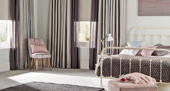 Anouk Blue Mist curtains with Tasia Linen Roller blind -