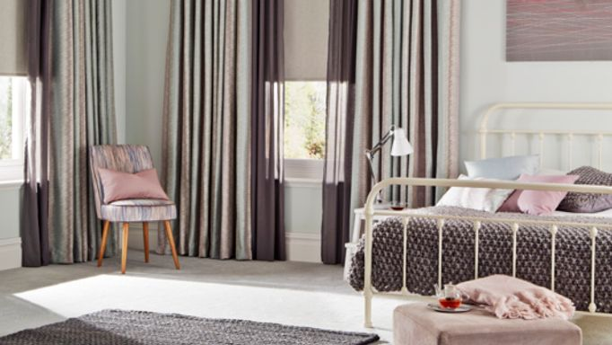 Anouk Blue Mist curtains with Tasia Linen Roller blind