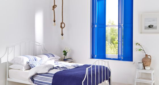 Blue painted solid Wooden shutters -