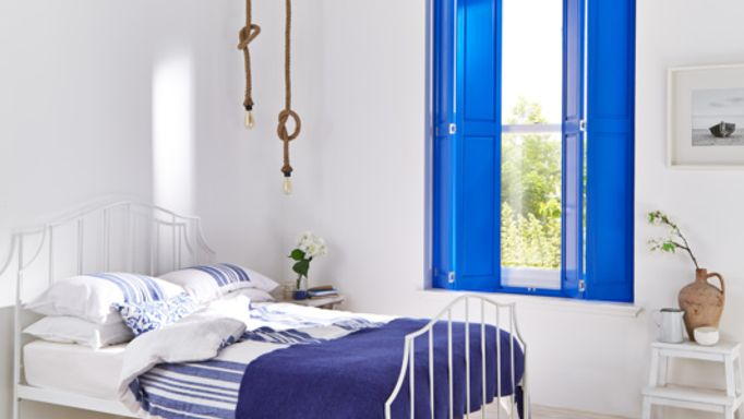 Blue painted solid Wooden shutters
