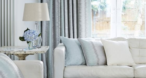 Mist blue living room curtains -