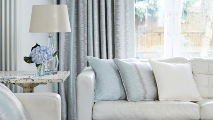 Mist blue living room curtains