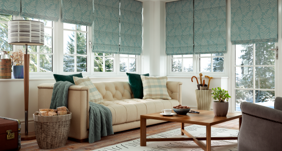 Green roller blinds -