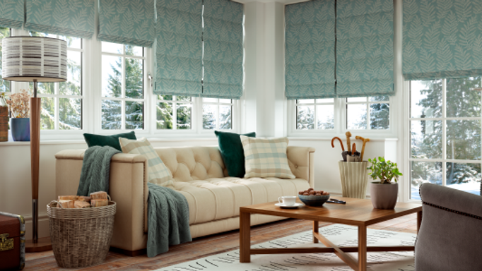 Green Roman Blind in the Living Room