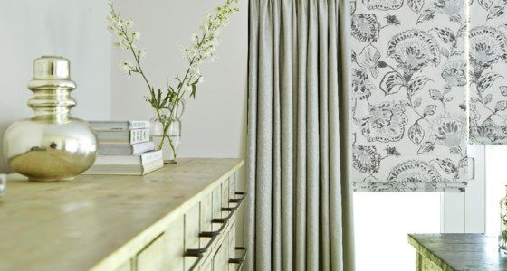 Floral Motif Roller Blind with Dove Grey Curtains -