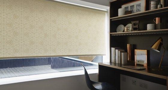 Pearl Coloured Mosiac Patterned Roller Blind in Study -