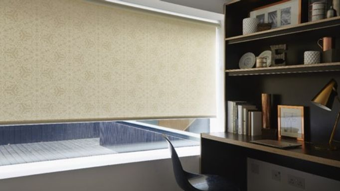 Pearl Coloured Mosiac Patterned Roller Blind in Study
