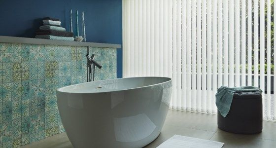 White Vertical Blind in Moroccan Bathroom -