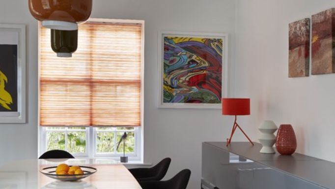 Pumkin Coloured Pleated Blinds in Dining Room