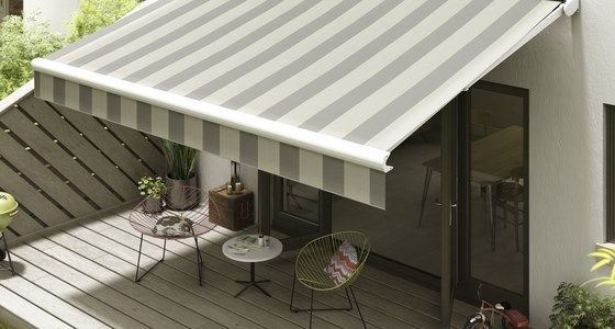 Grey Striped Awning With Wind and Sun Sensors -