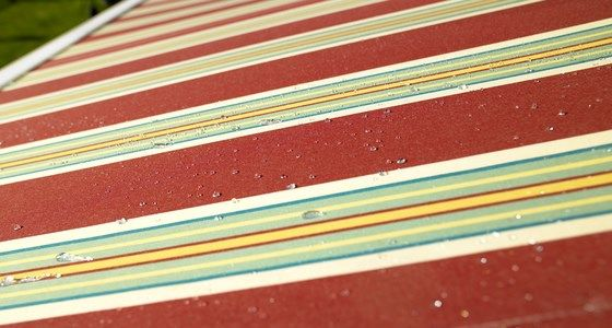 Red Striped Waterproof Awning Fabric -