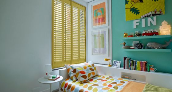 Yellow wooden shutters -
