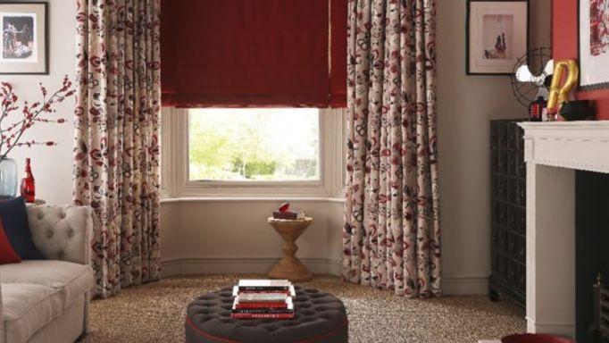 Red berry living room curtains
