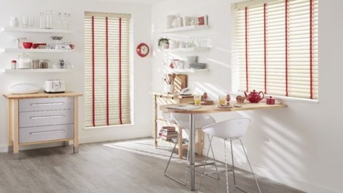 Red striped wooden blinds