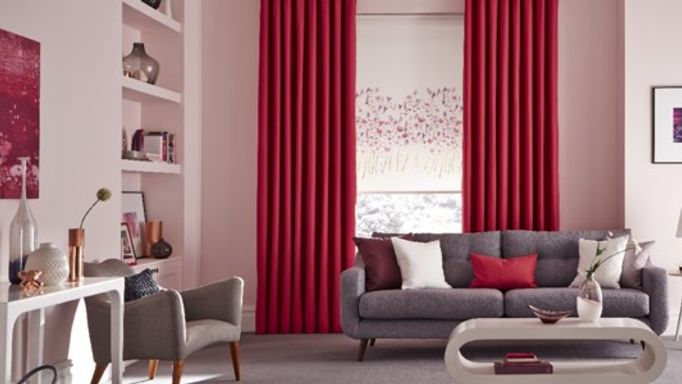 Freeda Violet Roller Blinds With Bardot Fuchsia Curtains In Living Room