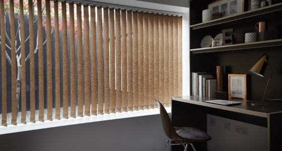 Brown Vertical Blinds In A Monochrome Room -