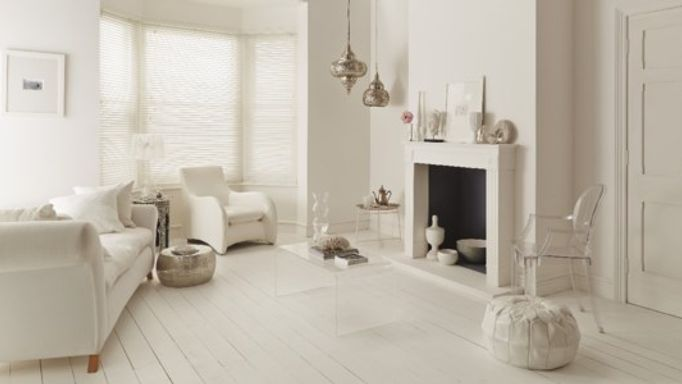 White Roman Bay Window Blinds In White Room