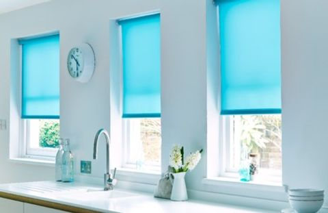 Splash Proof Blue Roller Blinds in Kitchen