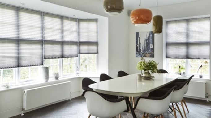Grey Pleated Blinds In Dining Room
