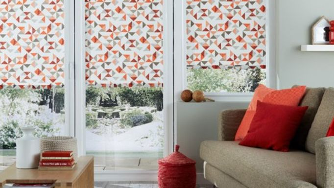 Padro Blush Roller Blinds On Patio Doors