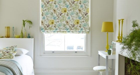 Green And Yellow Floral Roman Blinds -