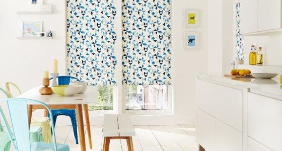 Blue Padro Patterned Roller Blinds -