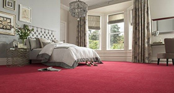 Red bedroom carpet -