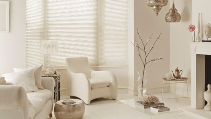 Purity White Wooden blinds living room