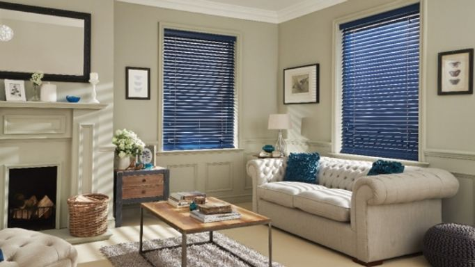 Carnaby Petrol Blue Wooden venetian blinds living room
