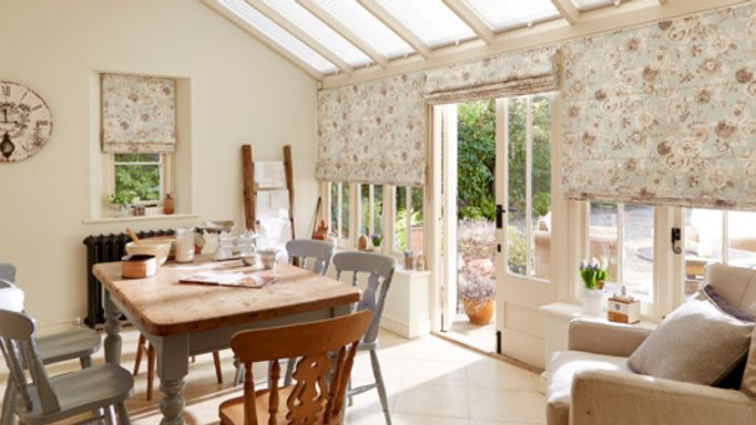 Francesca Duck egg Roman blinds conservatory