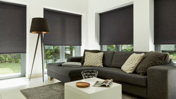 Norfolk Charcoal Roller blinds living room